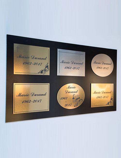 plaque personnalises - pompes funebres philippe